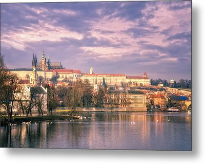 Pastel Prague Morning Metal Print by Joan Carroll