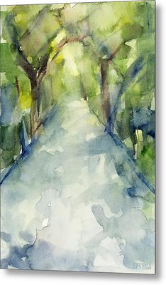 Path Conservatory Garden Central Park Watercolor Painting Metal Print by Beverly Brown Prints