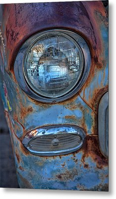 Patinaed Headlight Metal Print by Peter Tellone