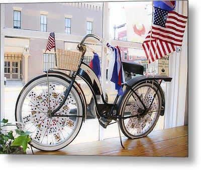 Patriotic Bicycle Metal Print by Cindy Archbell