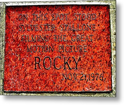 Pats Steaks - Rocky Plaque Metal Print by Benjamin Yeager