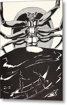 Pau Amma The Crab Rising Out Of The Sea As Tall As The Smoke Of Three Volcanoes Metal Print by Joseph Rudyard Kipling