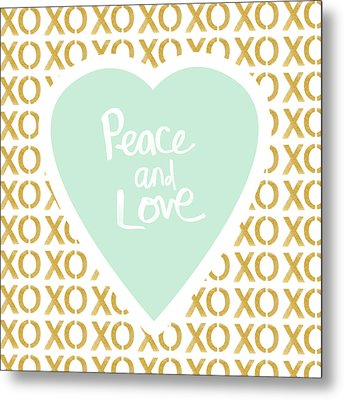 Peace And Love In Aqua And Gold Metal Print by Linda Woods