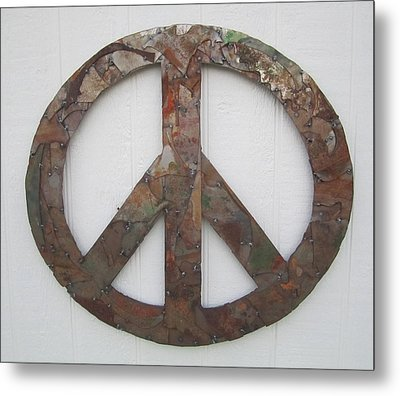 Peace Sign From Pieces Recylced Metal Wall Sculpture Metal Print by Robert Blackwell