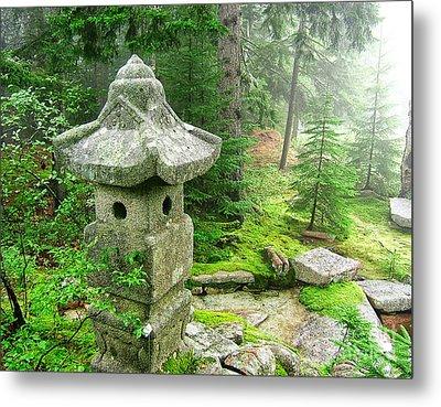 Peaceful Japanese Garden On Mount Desert Island Metal Print by Edward Fielding