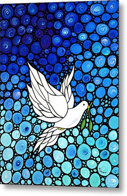 Peaceful Journey - White Dove Peace Art Metal Print by Sharon Cummings