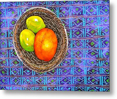Peach And Limes Still Life Metal Print by Ion vincent DAnu