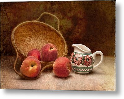 Peaches And Cream Still Life II Metal Print by Tom Mc Nemar