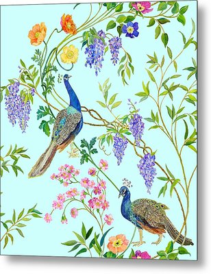Peacock Chinoiserie Surface Fabric Design Metal Print by Kimberly McSparran