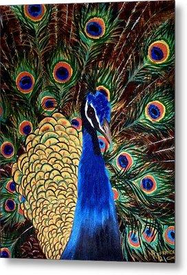Peacock Metal Print by Debbie LaFrance