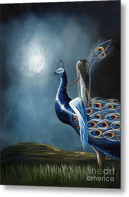 Peacock Princess By Shawna Erback Metal Print by Shawna Erback