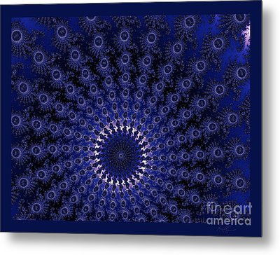 Peacock Spiral Metal Print by Amanda Collins