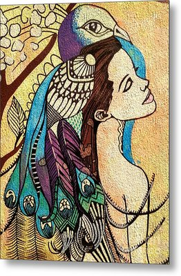 Peacock Woman Metal Print by Amy Sorrell