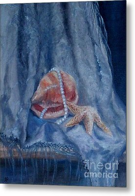 Pearls And Shells Metal Print by Irene Pomirchy