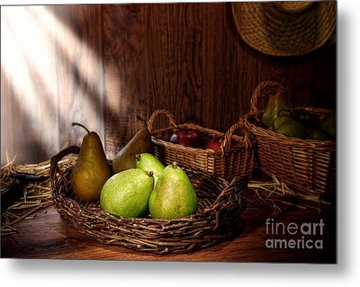 Pears At The Old Farm Market Metal Print by Olivier Le Queinec