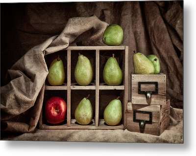 Pears On Display Still Life Metal Print by Tom Mc Nemar
