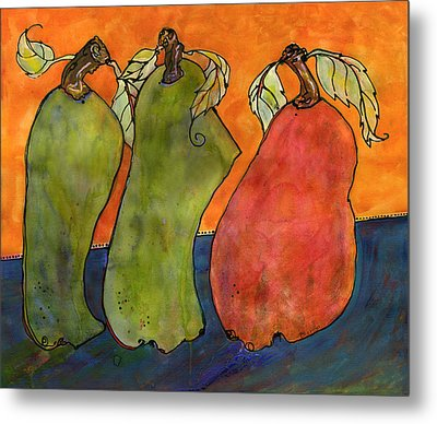 Pears Surrealism Art Metal Print by Blenda Studio