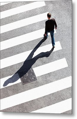 Pedestrain Crossing The Street On Zebra Metal Print by Panoramic Images