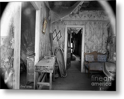 Peeking In The Old Mortuary Metal Print by Cheryl Young