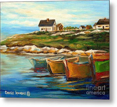 Peggys Cove With Fishing Boats Metal Print by Carole Spandau