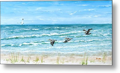 Pelicans On Crescent Beach Metal Print by Bruce Alan