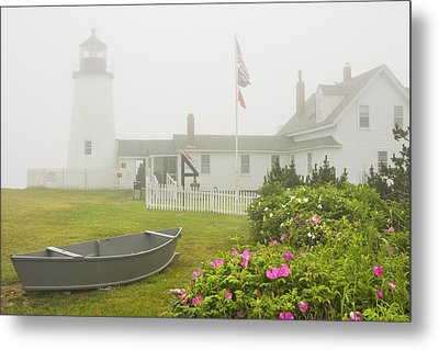 Pemaquid Point Lighthouse In Fog Maine Prints Metal Print by Keith Webber Jr