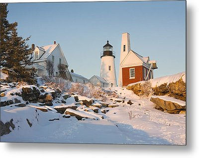 Pemaquid Point Lighthouse Winter In Maine  Metal Print by Keith Webber Jr