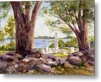 Pemaquid Sentinels Metal Print by Leslie Fehling