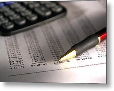Pen And Calculator Metal Print by Olivier Le Queinec