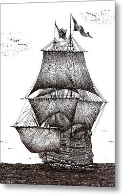 Pen And Ink Drawing Of Sailing Ship In Black And White Metal Print by Mario Perez