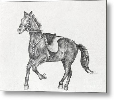 Pencil Drawing Of A Running Horse Metal Print by Kiril Stanchev