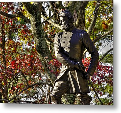 Pennsylvania At Gettysburg - Col Strong Vincent 83rd Pa Volunteer Infantry Close-2b Little Round Top Metal Print by Michael Mazaika