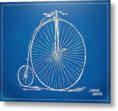 Penny-farthing 1867 High Wheeler Bicycle Blueprint Metal Print by Nikki Marie Smith