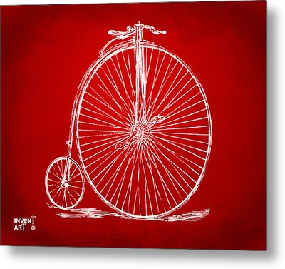 Penny-farthing 1867 High Wheeler Bicycle Patent Red Metal Print by Nikki Marie Smith