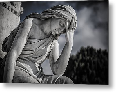 Pensive Angel At Heredia Cemetery Metal Print by Andres Leon