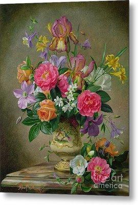 Peonies And Irises In A Ceramic Vase Metal Print by Albert Williams