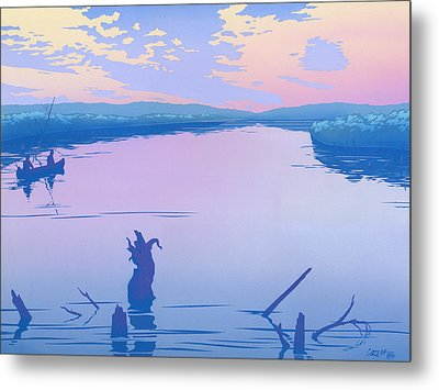 abstract people Canoeing river sunset landscape 1980s pop art nouveau retro stylized painting print Metal Print by Walt Curlee