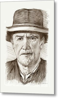 People Of Old West A Pencil Drawing In Black And White  Metal Print by Mario Perez