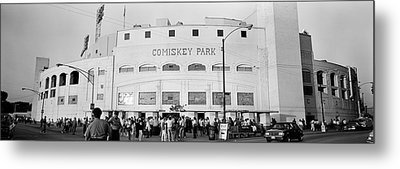 People Outside A Baseball Park, Old Metal Print by Panoramic Images