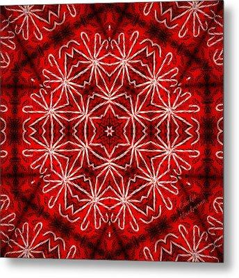 Peppermint Snowflake Metal Print by Cricket Hackmann