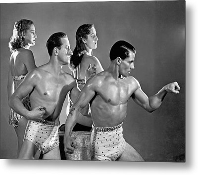 Performing Troupe Strike Pose Metal Print by Underwood Archives