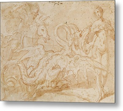 Perseus Rescuing Andromeda Red Chalk On Paper Metal Print by or Zuccaro, Federico Zuccari