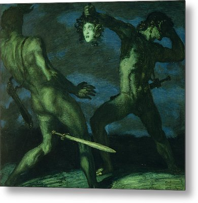 Perseus Turns Phineus To Stone By Brandishing The Head Of Medusa Metal Print by Franz von Stuck