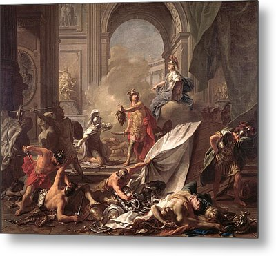 Perseus, Under The Protection Of Minerva, Turns Phineus To Stone By Brandishing The Head Of Medusa Metal Print by Jean-Marc Nattier