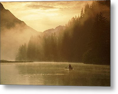 Person Canoeing On Robe Lake Sunrise Metal Print by Michael DeYoung