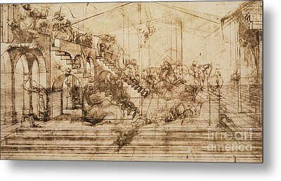 Perspective Study For The Background Of The Adoration Of The Magi Metal Print by Leonardo da Vinci