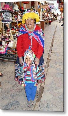 Peruvian Mother And Child Metal Print by Eva Kaufman