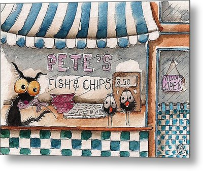 Pete's Fish And Chips Metal Print by Lucia Stewart