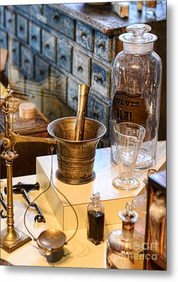 Pharmacist - Brass Mortar And Pestle Metal Print by Paul Ward