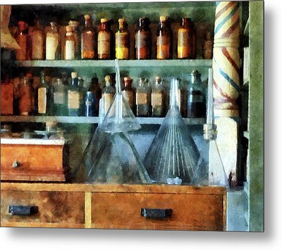 Pharmacist - Glass Funnels And Barber Pole Metal Print by Susan Savad